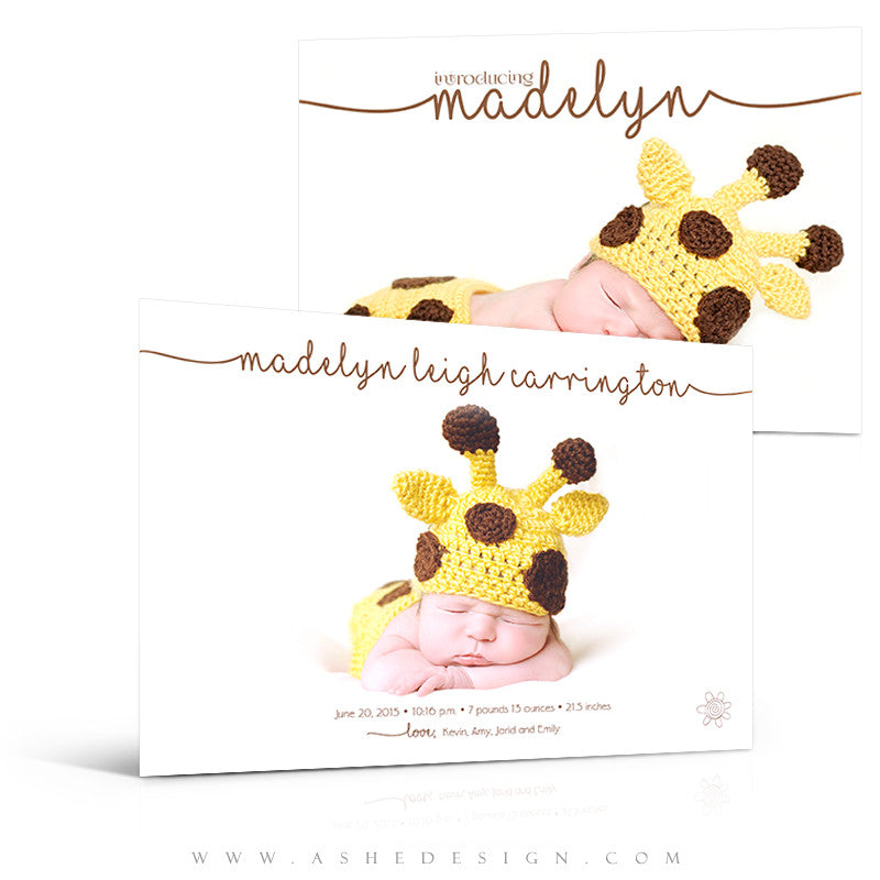Birth Announcement 5x7 | Simply Baby Madelyn 3d