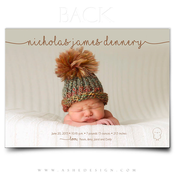 Birth Announcement 5x7 | Simply Baby Nicholas back