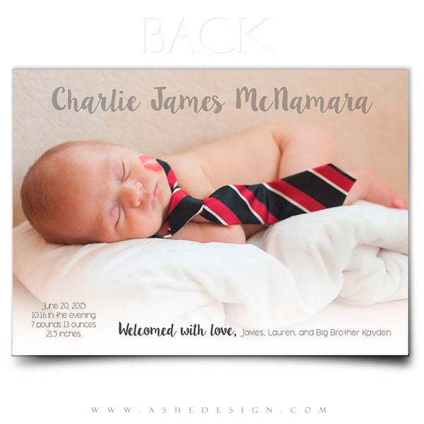 Birth Announcement 5x7 | Simply Baby Charlie back