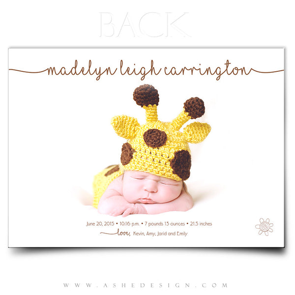 Birth Announcement 5x7 | Simply Baby Madelyn back