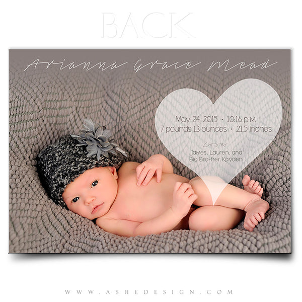 Birth Announcement 5x7 | Simply Baby Arianna back