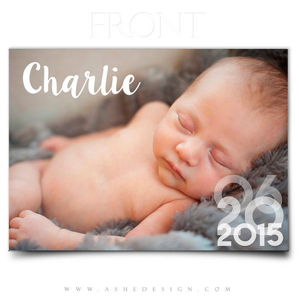 Birth Announcement 5x7 | Simply Baby Charlie front