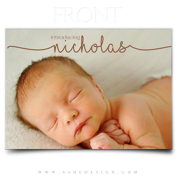 Birth Announcement 5x7 | Simply Baby Nicholas front