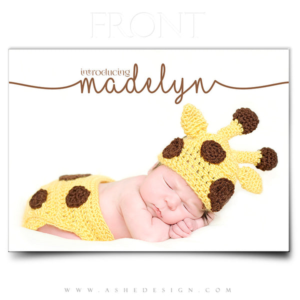 Birth Announcement 5x7 | Simply Baby Madelyn front
