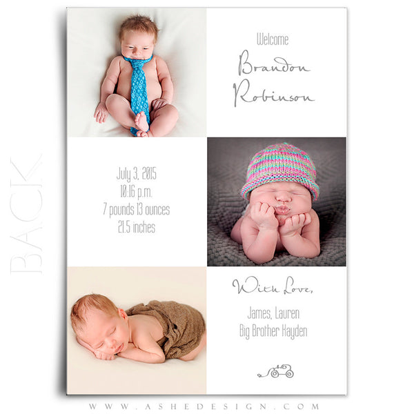 Birth Announcement 5x7 Flat | Simply Baby Brandon back