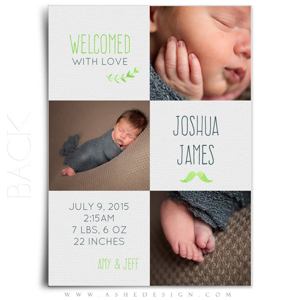 Birth Announcement 5x7 | Simply Baby Joshua back