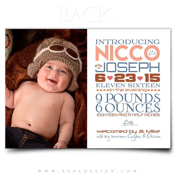 Birth Announcement 5x7 Flat | Simply Baby Nicco back