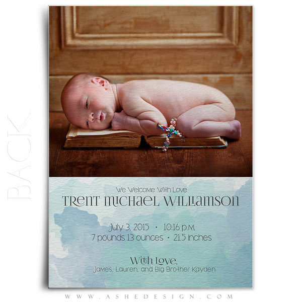 Birth Announcement 5x7 |  Simply Baby Trent back