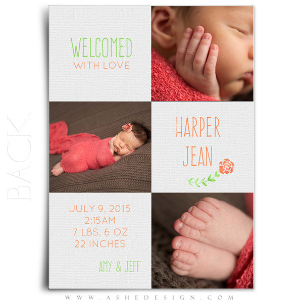 Girl Birth Announcement 5x7 | Simply Baby Harper back