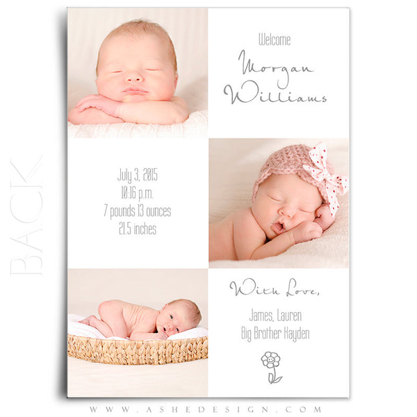 Birth Announcement 5x7 Flat | Simply Baby Morgan back