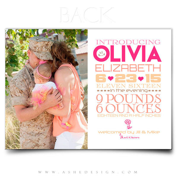 Birth Announcement 5x7 Flat | Simply Baby Olivia back