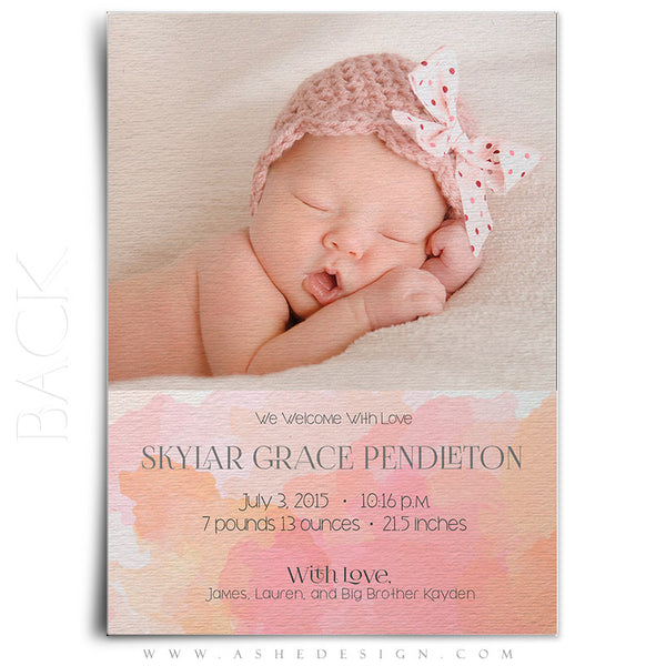 Birth Announcement 5x7 | Simply Baby Skylar back