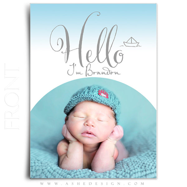 Birth Announcement 5x7 Flat | Simply Baby Brandon front