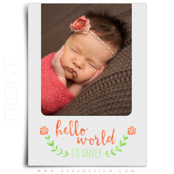 Girl Birth Announcement 5x7 | Simply Baby Harper front