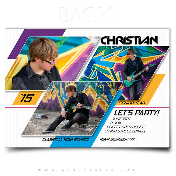 Senior Graduation Card | Geometric Color Slide back