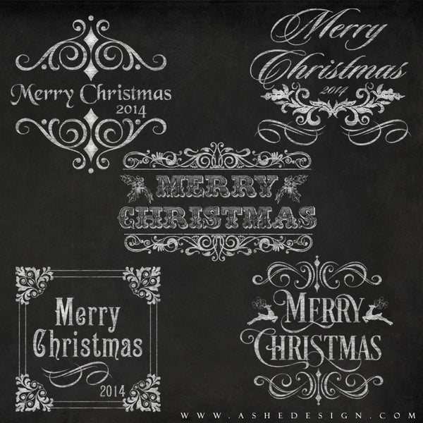 Chalkboard Merry Christmas Word Art Template Set