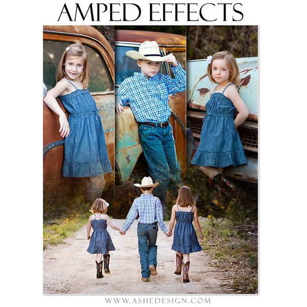 Ashe Design | Amped Effects Photography Templates | Faded Triptych family