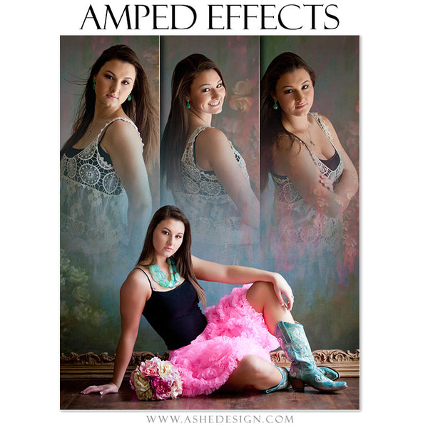 Ashe Design | Amped Effects Photography Templates | Faded Triptych sr girl