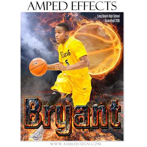Ashe Design | Amped Effects | Photoshop Templates | Sports Poster 16x20 | Fire Ball Basketball