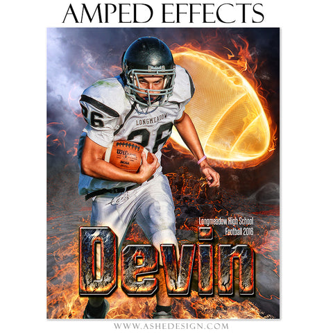 Ashe Design | Amped Effects | Photoshop Templates | Sports Poster 16x20 | Fire Ball Football