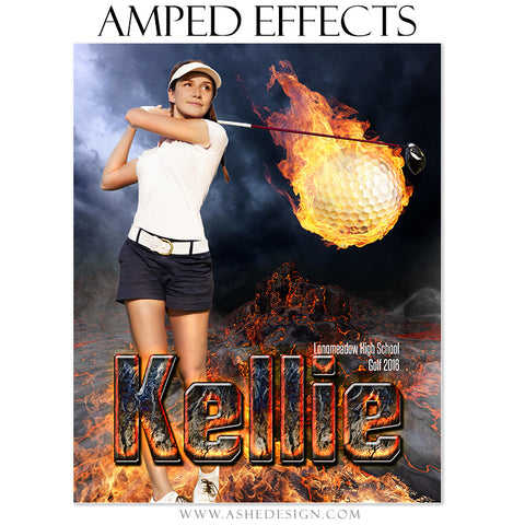 Ashe Design | Amped Effects | Photoshop Templates | Sports Poster 16x20 | Fire Ball Golf