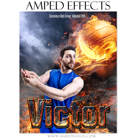 Ashe Design | Amped Effects | Photoshop Templates | Sports Poster 16x20 | Fire Ball Volleyball
