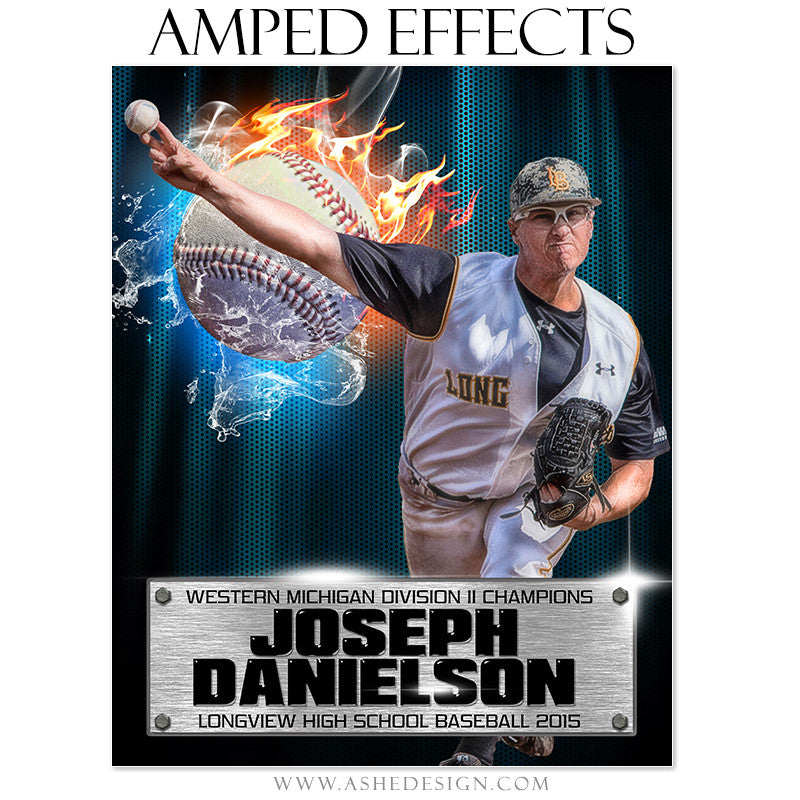 Ashe Design | Amped Effects Sports Templates | Fire Storm Baseball