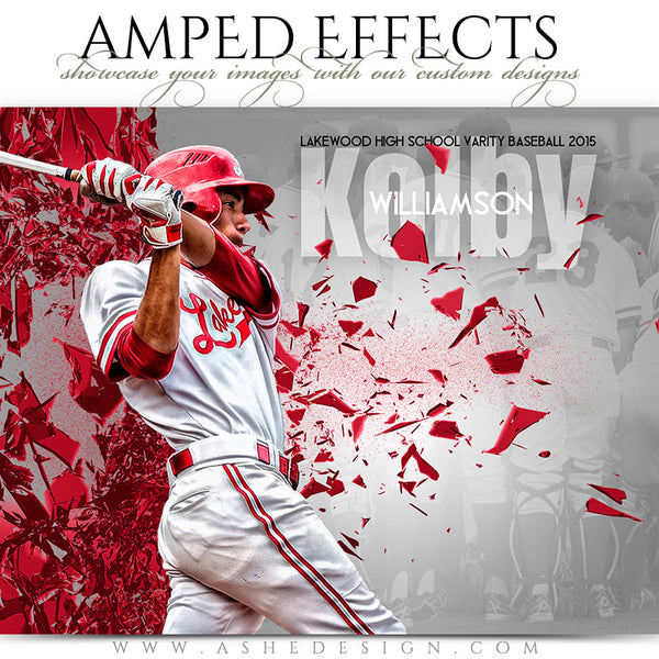 Ashe Design | Amped Effects Sports Templates | Shattered Wall baseball