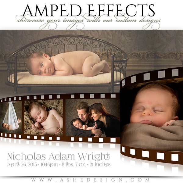 Ashe Design | Amped Effects Photography Templates | Film Strip birth