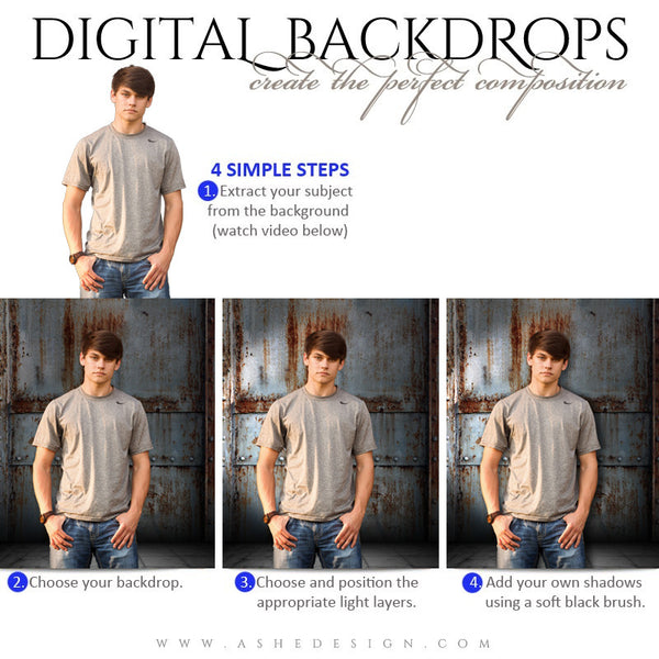 Ashe Design | Digital Backdrops | 16x20 | Corrugated Metal | Senior Boy