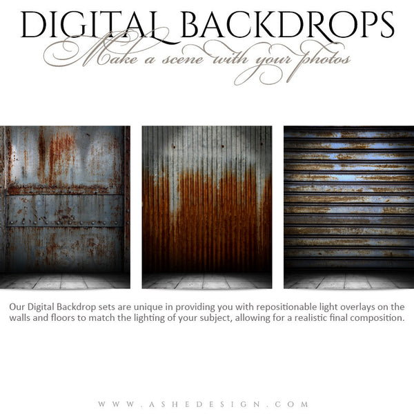 Ashe Design | Digital Backdrops | 16x20 | Corrugated Metal