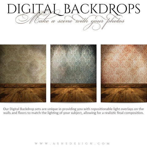 Ashe Design | Digital Backdrops | 16x20 | Damask Walls