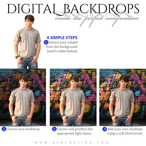 Ashe Design | Digital Backdrops | 16x20 | Graffiti | Senior Boy
