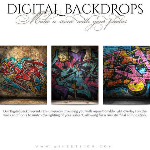 Ashe Design | Digital Backdrops | 16x20 | Graffiti