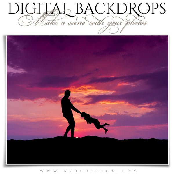 Ashe Design | Digital Backdrops | 16x20 | Mountain Sunset dad
