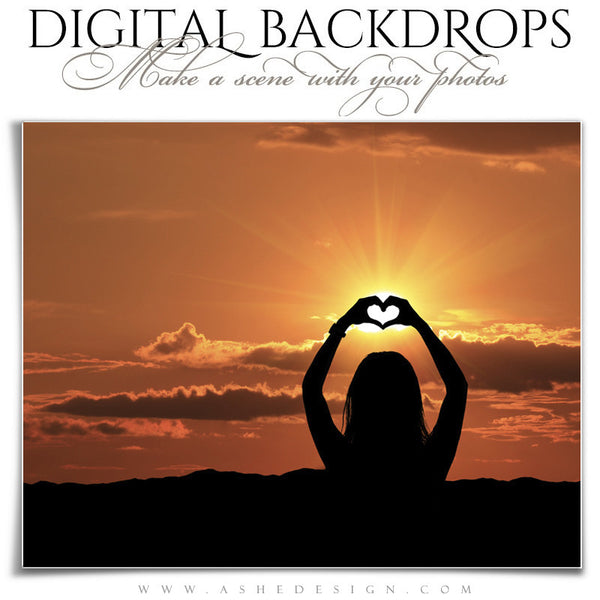Ashe Design | Digital Backdrops | 16x20 | Mountain Sunset heart