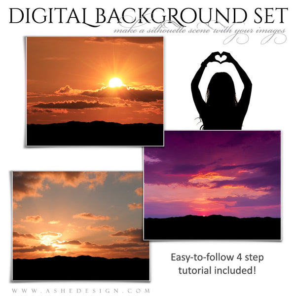 Ashe Design | Digital Backdrops | 16x20 | Mountain Sunset