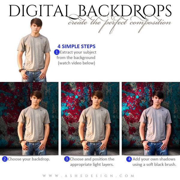 Ashe Design | Digital Backdrops | 16x20 | Painted Grunge | Senior Boy