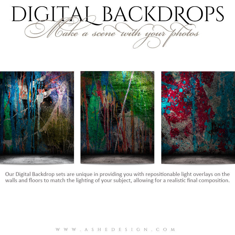 Ashe Design | Digital Backdrops | 16x20 | Painted Grunge