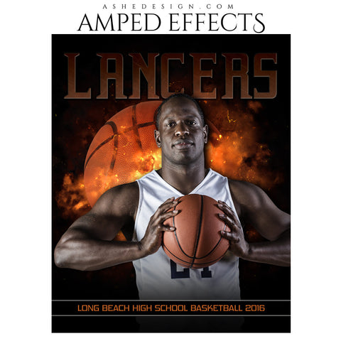 Ashe Design | Amped Effects | Photoshop Templates | Sports Poster 16x20 | Backdraft Basketball