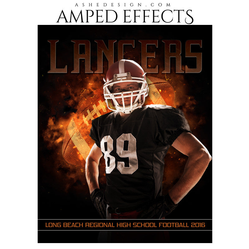 Ashe Design | Amped Effects | Photoshop Templates | Sports Poster 16x20 | Backdraft Football