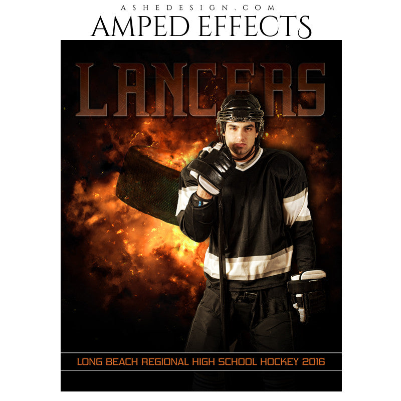Ashe Design | Amped Effects | Photoshop Templates | Sports Poster 16x20 | Backdraft Hockey