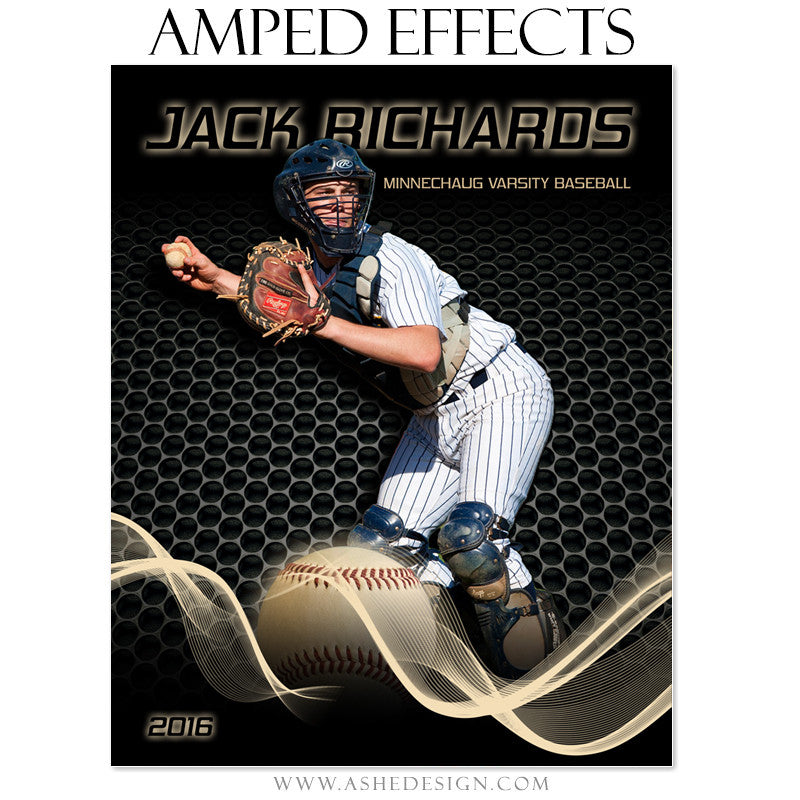 Ashe Design | Amped Effects | Photoshop Template | Sports Poster | Baseball