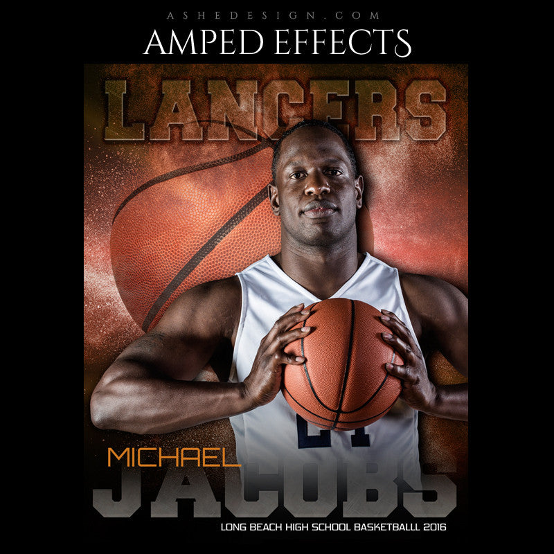 Ashe Design | Amped Effects | Photoshop Templates | Sports Poster 16x20 | Powder Explosion Basketball