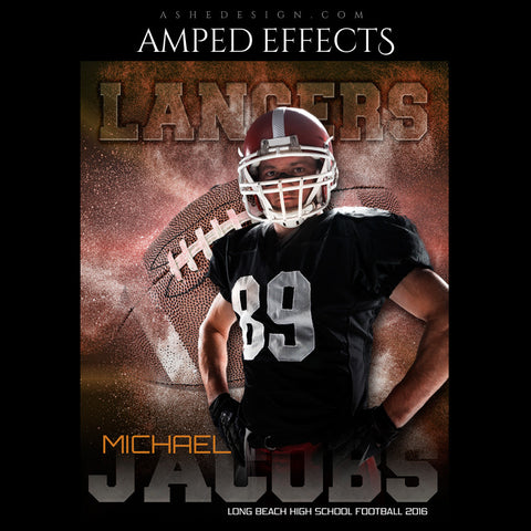 Ashe Design | Amped Effects | Photoshop Templates | Sports Poster 16x20 | Powder Explosion Football