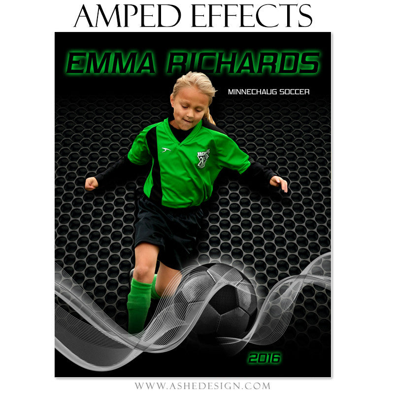 Ashe Design | Amped Effects | Photoshop Template | Sports Poster | Soccer