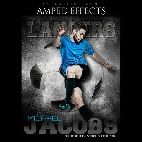 Ashe Design | Amped Effects | Photoshop Templates | Sports Poster 16x20 | Powder Explosion Soccer