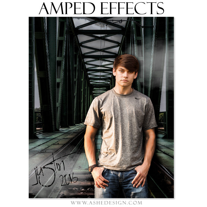 Ashe Design | Amped Effects | Photoshop Templates | Senior Posters | Steel Bridge