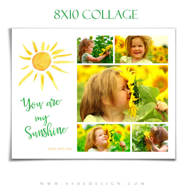 Ashe Design | Photoshop Templates | Collage 8x10 | You Are My Sunshine
