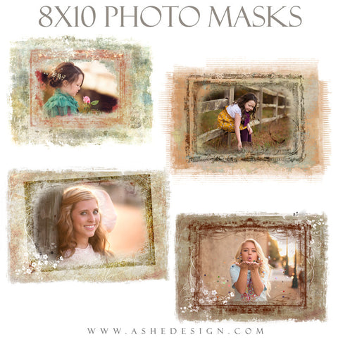 Ashe Design | Photoshop Templates | 8x10 Photo Masks | Floral Grunge